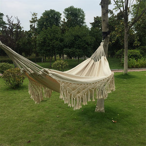 2 Person Hammock Boho Large Brazilian Macrame Fringe Deluxe Indoor/Outdoor