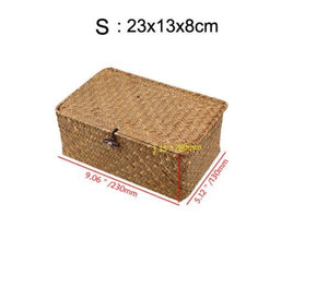 Handmade Woven Seagrass Storage Basket with Attached Lid