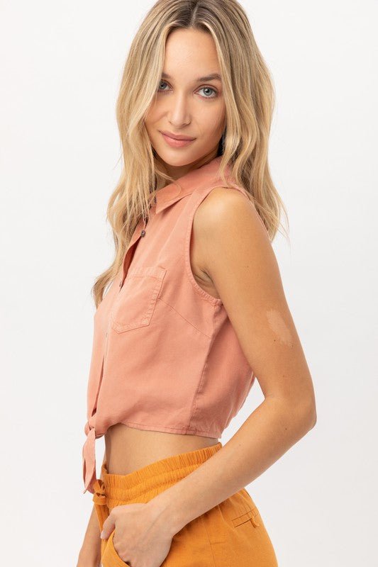 Bindi Button Down Crop Top
