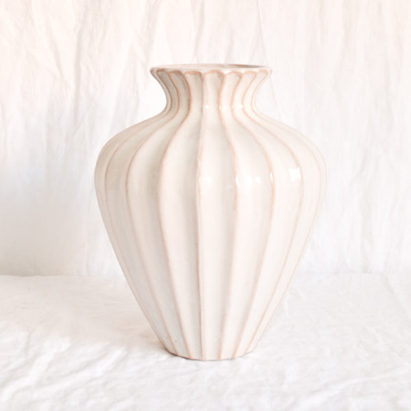 VINTAGE LARGE NUDE RIBBED CERAMIC VASE
