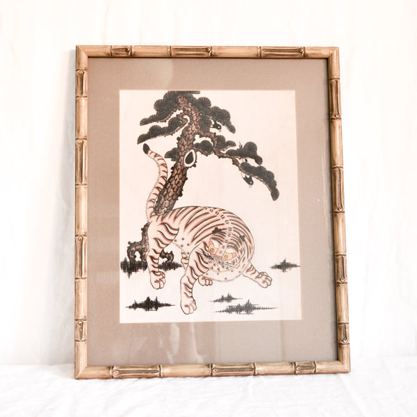 VINTAGE JAPANESE TIGER BAMBOO FRAME PICTURE