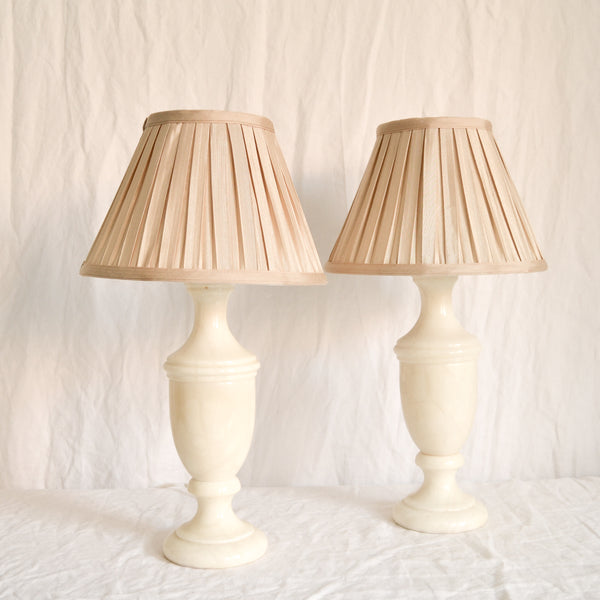 PRE-ORDER VINTAGE PAIR OF CREAM MARBLE LAMPS