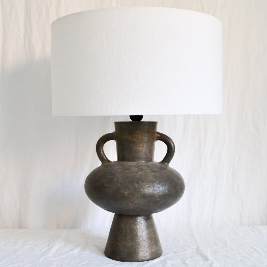 CHARCOAL SCULPTURAL STONEWARE LAMP