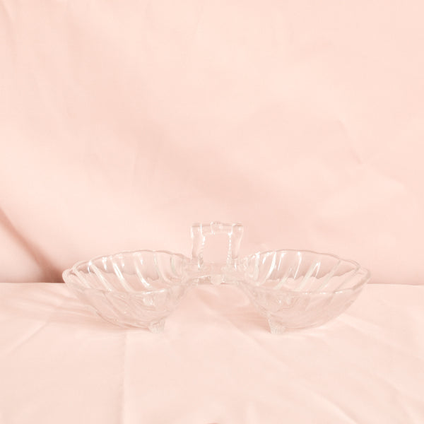VINTAGE GLASS DOUBLE SHELL SERVER