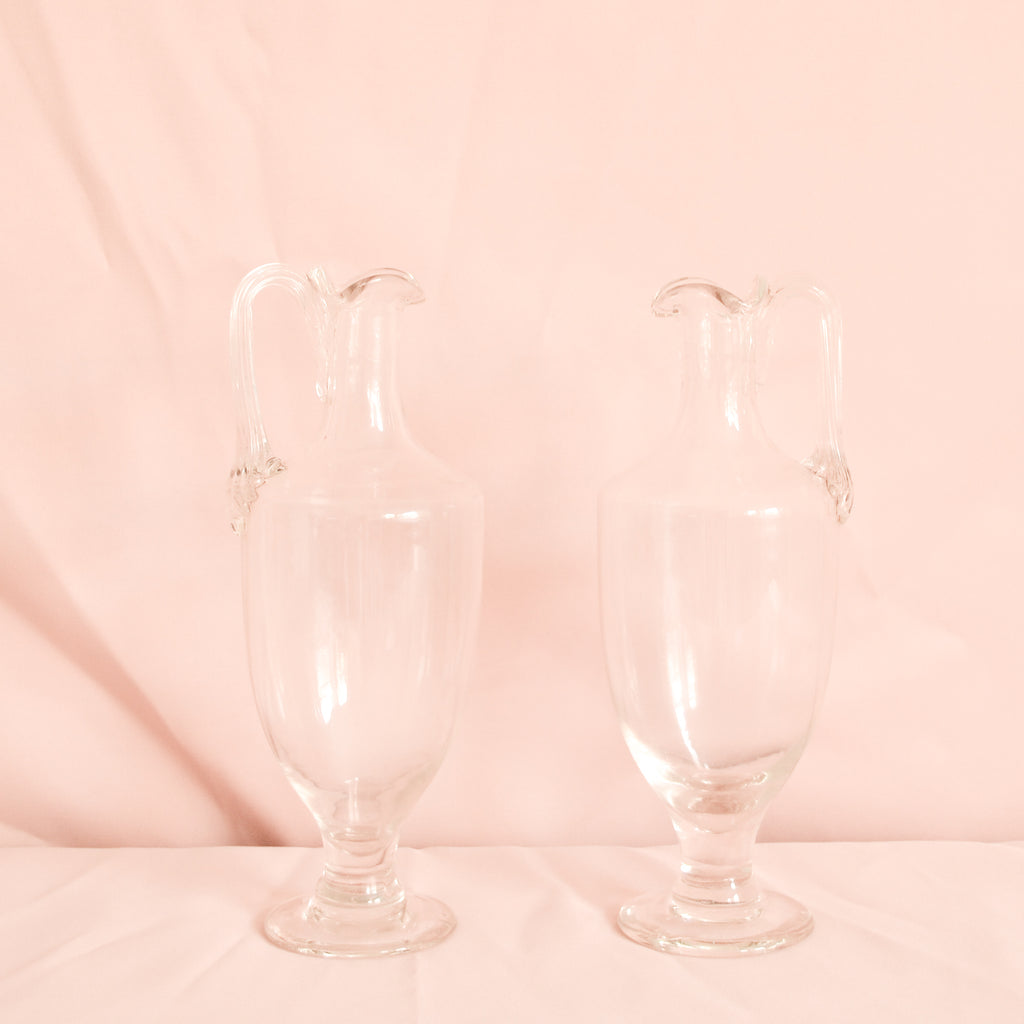 VINTAGE PAIR OF HANDMADE GLASS JUGS
