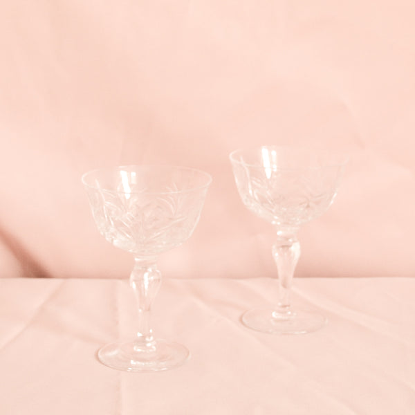 VINTAGE SET OF 6 CRYSTAL CHAMPAGNE COUPE GLASSES