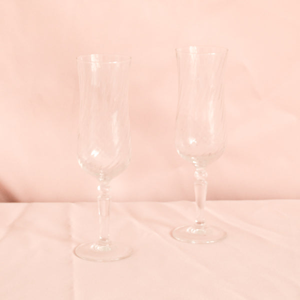 VINTAGE SET OF 6 TWIST RIB CHAMPAGNE FLUTES