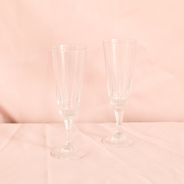 VINTAGE SET OF 6 SHORT STEM CHAMPAGNE FLUTES