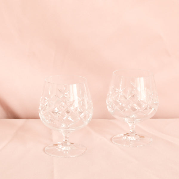 VINTAGE SET OF 6 CRYSTAL BRANDY GLASSES