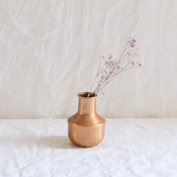 BRASS SMALL ETCHED VASE