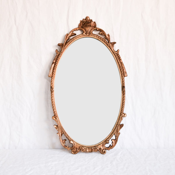 VINTAGE 'SABINA' MEDIUM OVAL BRASS MIRROR