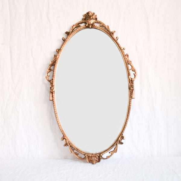 VINTAGE 'CAMILLE' LARGE OVAL BRASS MIRROR