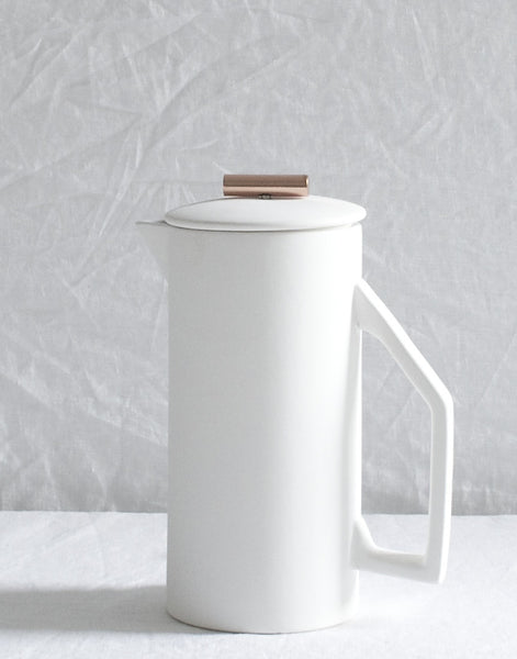 CREAM CERAMIC FRENCH PRESS WITH COPPER PULL
