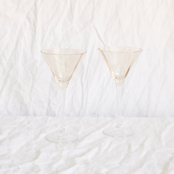VINTAGE PAIR OF AMBER COCKTAIL GLASSES