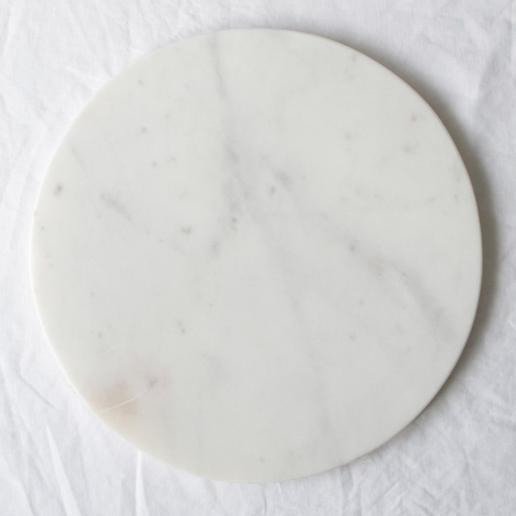 WHITE MARBLE ROUND CHEESE PLATE LARGE