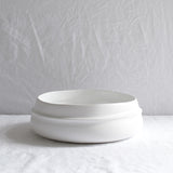 WHITE CERAMIC MATTE RIDGED BOWL MEDIUM