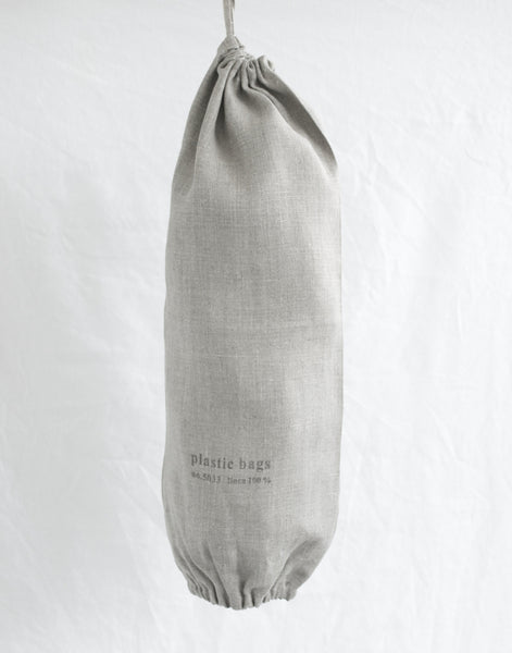 NATURAL LINEN DRAWSTRING BAG HOLDER