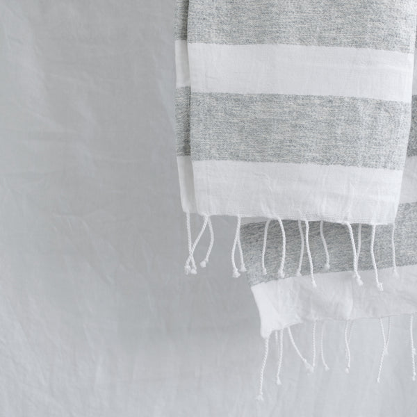 WHITE & GREY COTTON HAMMAM STRIPE TOWEL