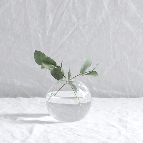 SMALL GLASS BALL VASE