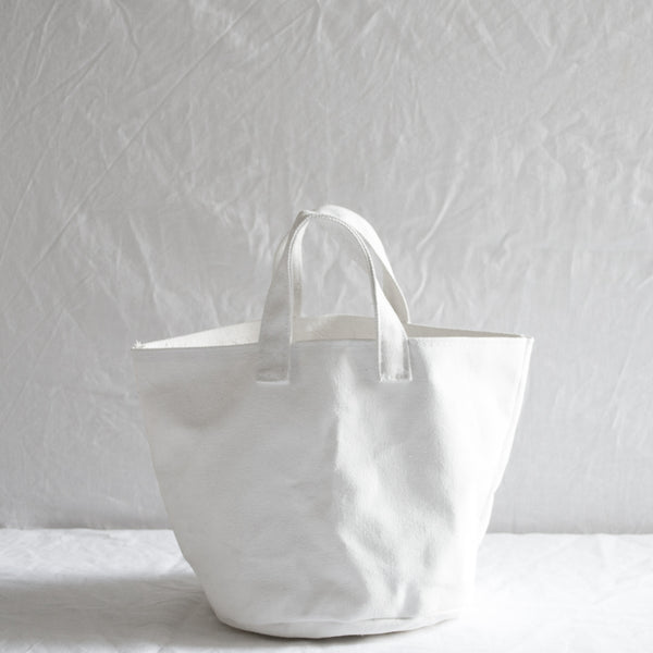 WHITE CANVAS STORAGE BAG SMALL