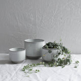 WHITE CERAMIC MATTE & GLAZE PLANT POT LARGE