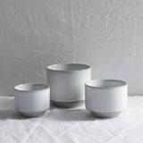 WHITE CERAMIC MATTE & GLAZE PLANT POT SMALL