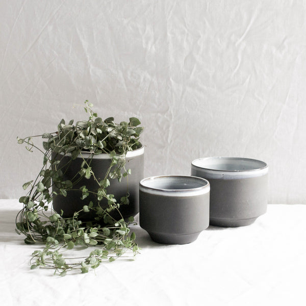 SET OF 3 SLATE GREY CERAMIC MATTE & GLAZE PLANT POTS