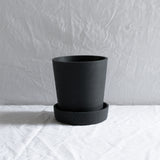 BLACK CONCRETE PLANT POT & SAUCER LARGE