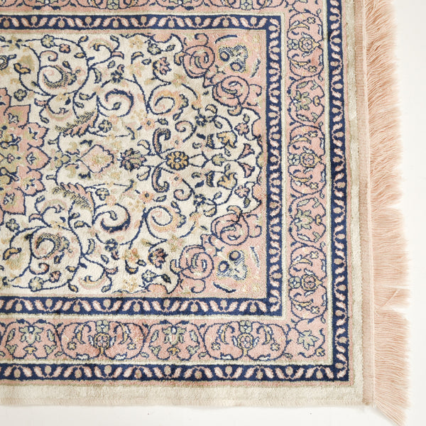 VINTAGE SMALL BLUSH PINK & NAVY RUG 120 X 70