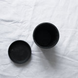 BLACK CONCRETE PLANT POT & SAUCER MEDIUM