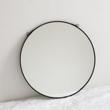 BLACK ROUND HANGING MIRROR