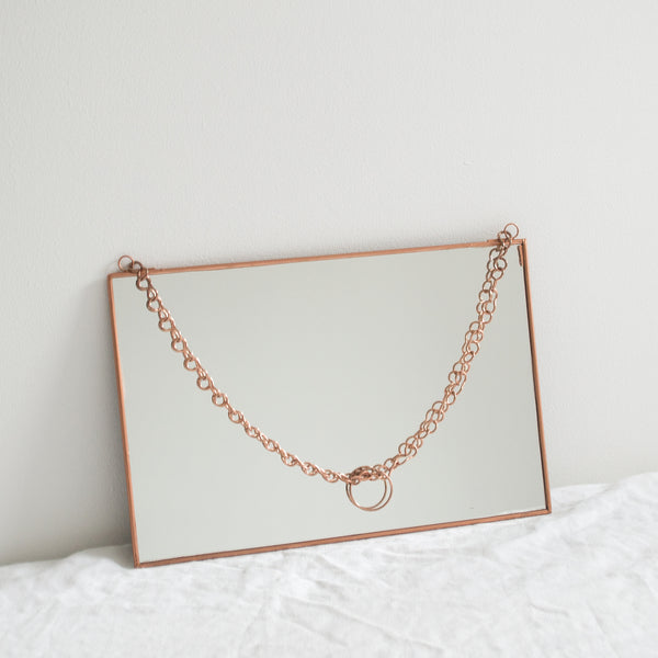 RECTANGULAR COPPER HANGING MIRROR