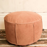 TAN 'CRANE' LEATHER & SUEDE POUFFE