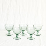 VINTAGE SET OF 5 GREEN CHAMPAGNE COUPE GLASSES