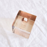 CRYSTAL GLASS AMBER CUBE CANDLE HOLDER