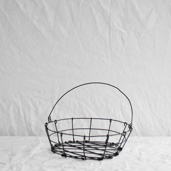 BLACK ROUND WIRE WORK BASKET
