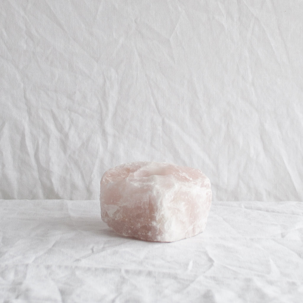 PINK QUARTZ CANDLE HOLDER