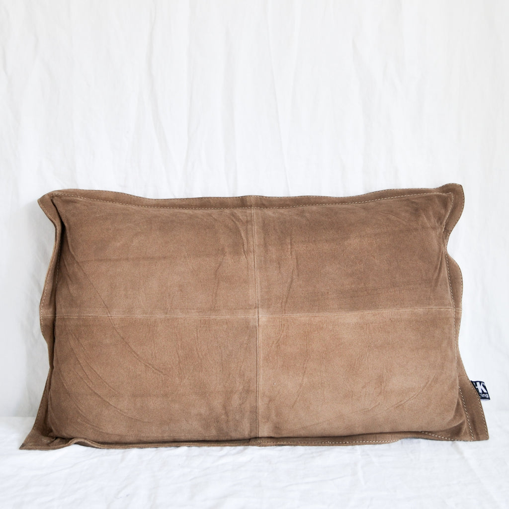BROWN HANDMADE SUEDE LUMBAR CUSHION