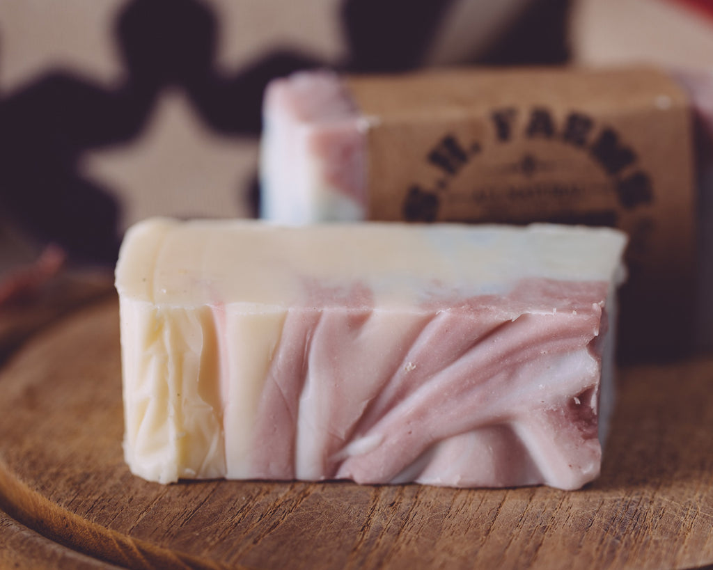 Close-up photographs of Americana soap from Sweet Harvest Farms.
