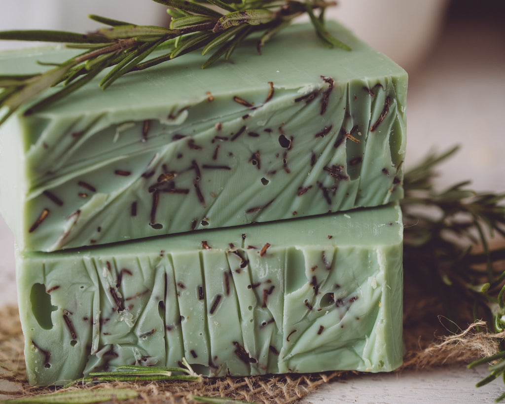 Close-up photographs of organic handcrafted rosemary mint soap from Sweet Harvest Farms.