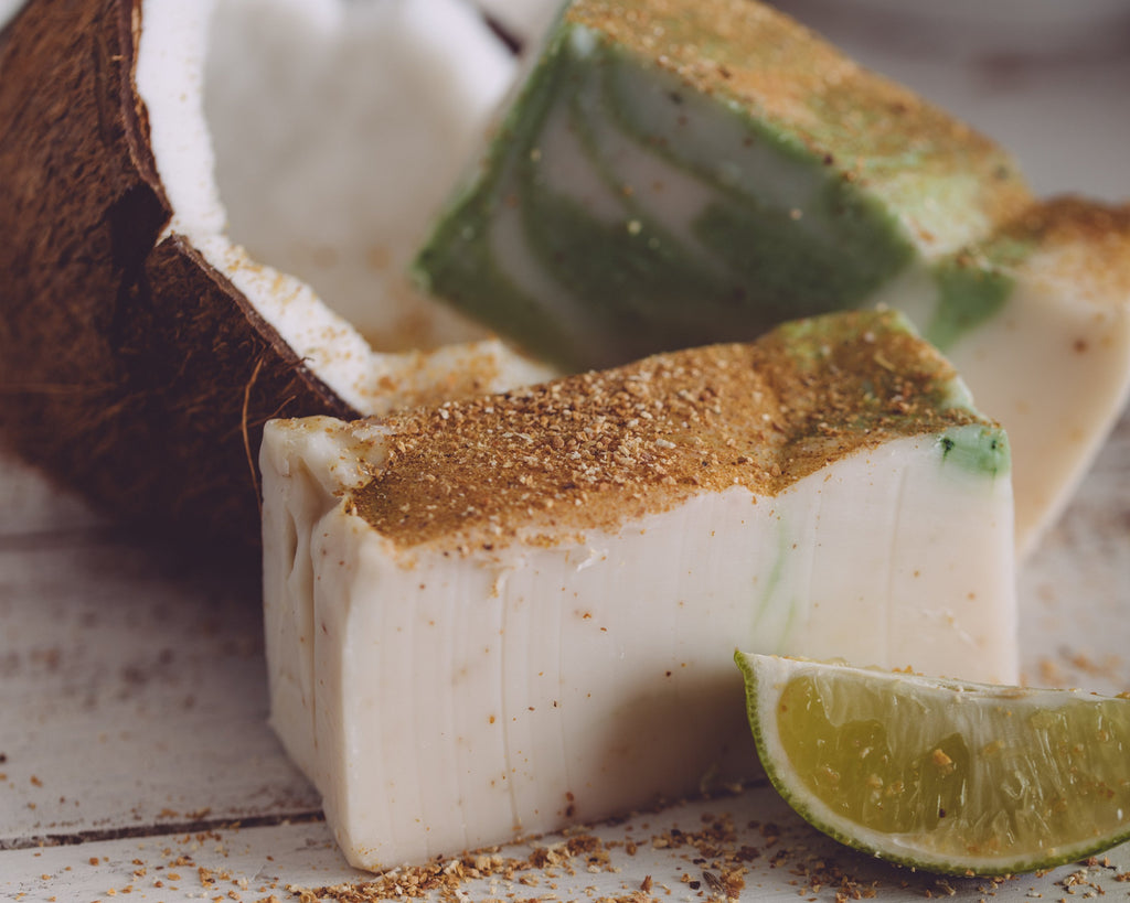 Close up photograph of Lime in de Coconut organic handmade soap.
