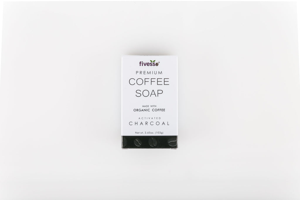 Close-up photographs of the Activated Charcoal premium organic coffee soap bar from Fivesso.