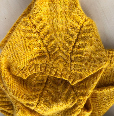 shoulder of the hearthstone sweater in westyarn mohair and merino