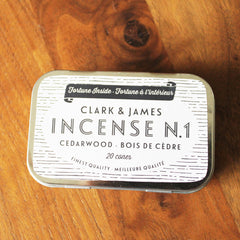 tin of clark & james incense