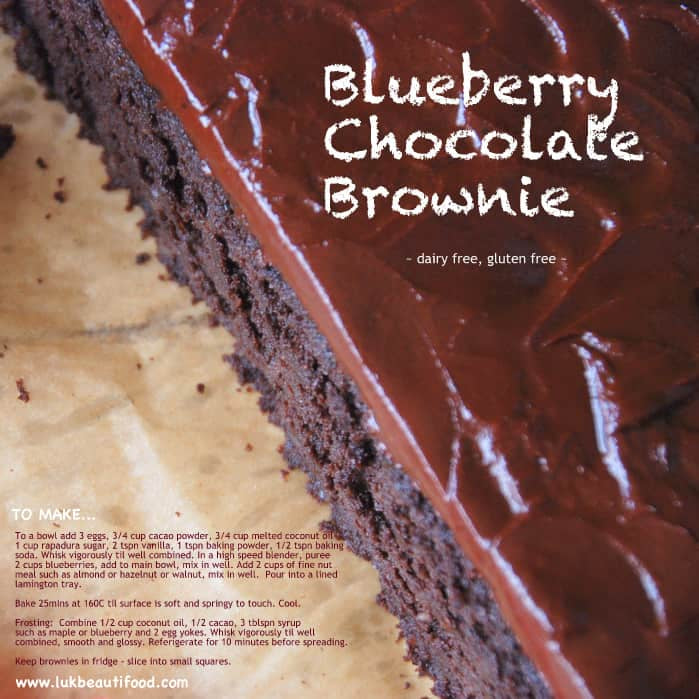 Blueberry Chocolate Brownie recipe clean food luk beautifood