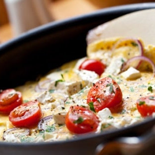 Cherry tomato and feta omelette