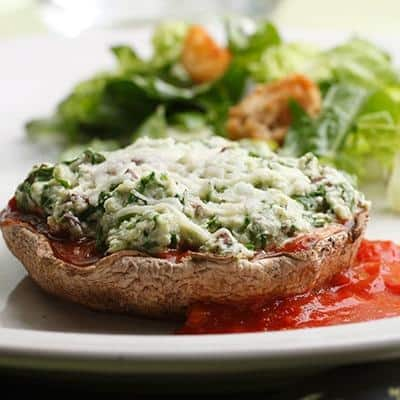 Ricotta & Spinach Pesto Mushrooms