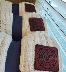 Custom laser engraved leather patch blankets