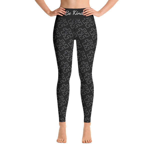 Be Kind Black and White Yoga Leggings
