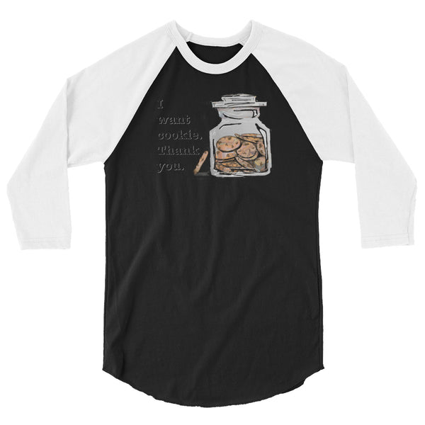 Cookie 3/4 sleeve raglan shirt